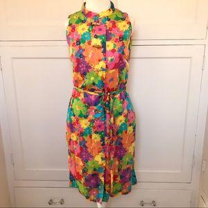 VINTAGE 1960s Bright Floral Sleeveless Dress